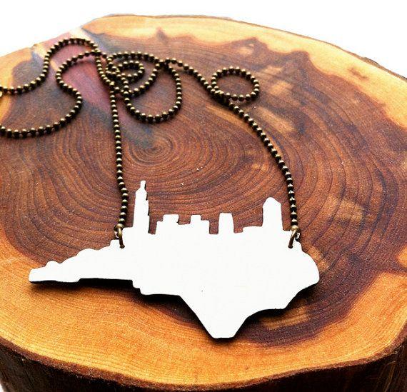Raleigh Skyline Necklace by zassdesign on Etsy, $38.00