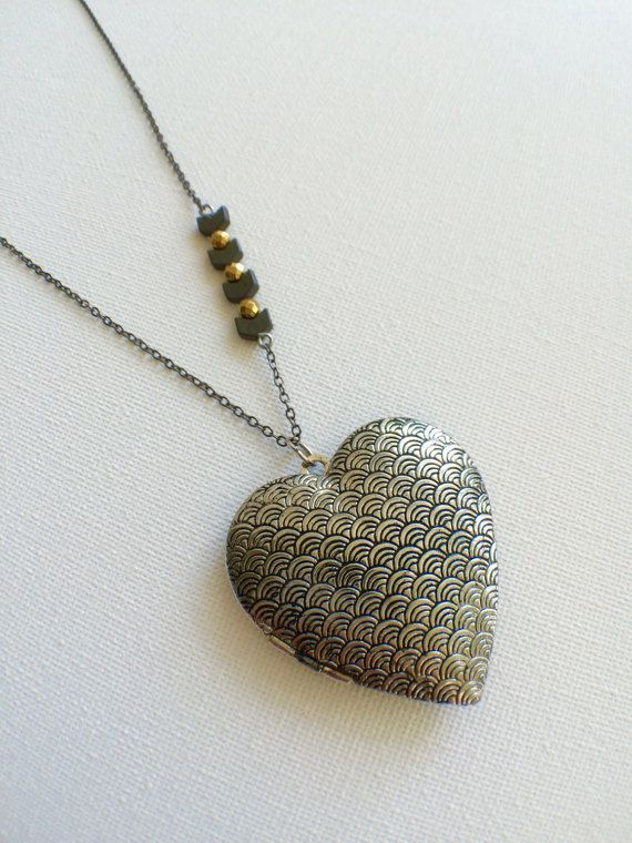 Large heart photo Locket keepsake locket by PERCIVALandHUDSON