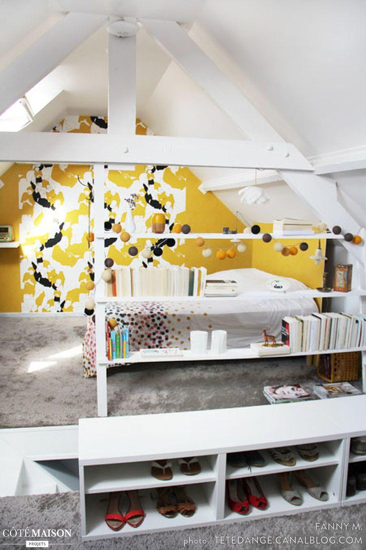 Les 25 meilleures id es concernant petites chambres mansard es sur pinterest chambres Chambre par un eclairage moderne