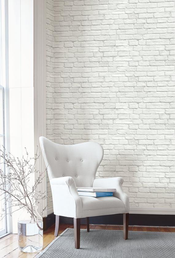 Self Adhesive Wallpaper Brick Peel And Stick White Brick Etsy Brick Wallpaper Living Room White Brick Wallpaper Brick Wallpaper Bedroom