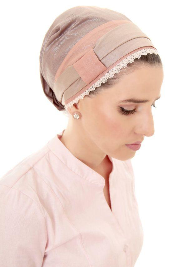 Pink and Silver Easy Tie Sinar Tichel headscarf by Leelach on Etsy