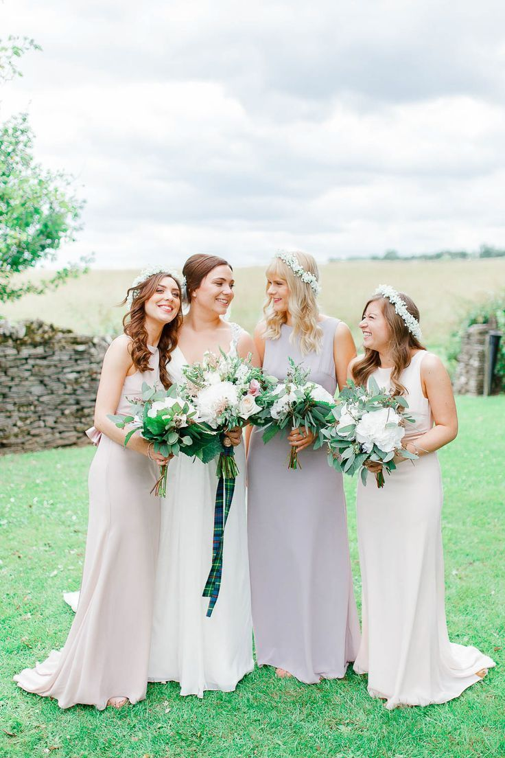 Bridal Party Bride In Ellis Gown Pink Hued Asos Bridesmaid Dresses Pastel Wedding At Cripps Barn White Stag Photography