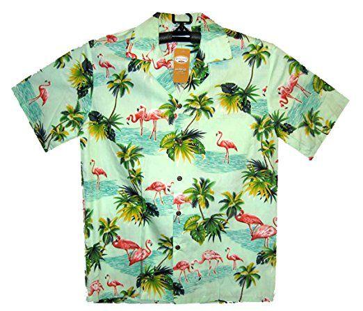 P.L.A. Original Camisa Hawaiana, Flamingo, turquesa S