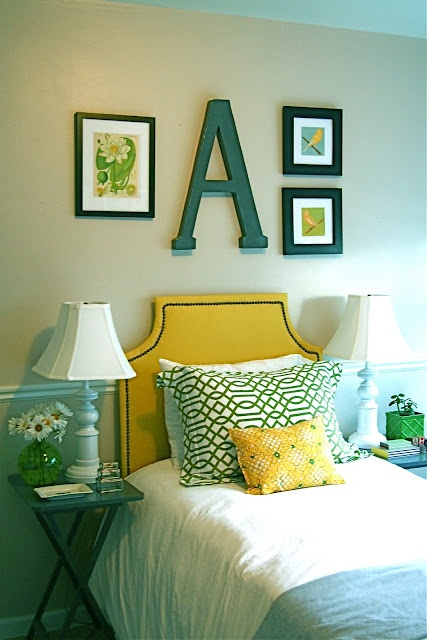 Yellow And Teal Color Scheme (and Small Bedroom Idea