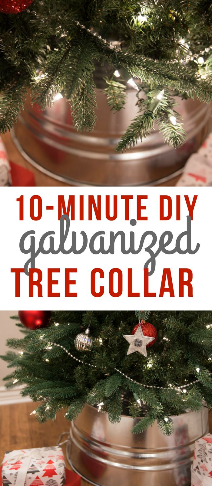 DIY Galvanized Christmas Tree Collar Tutorial- Cheap Galvanized Tree Skirt Idea-