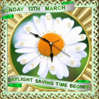 Daylight Saving Time Begins 13th March section. Send this reminder to anyone to let them know to put their clocks forward. Permalink : http://www.123greetings.com/events/day_light_saving_time/a_reminder_for_you.html