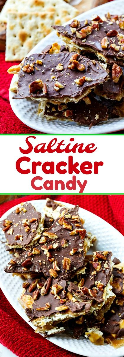 Saltine Cracker Candy is an easy toffee candy perfect for the holidays #toffee #chocolate #candy #christmas