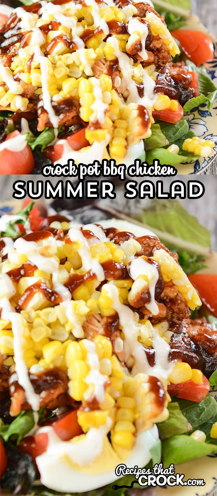 Our quick easy Crock Pot BBQ Chicken makes an incredible summer salad you will c…