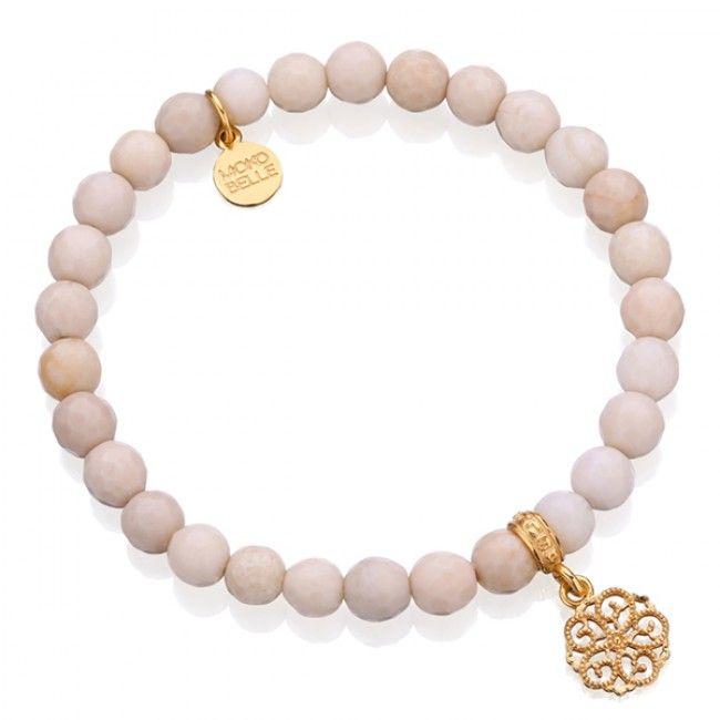 Bransoletka z kremowych marmurów z ażurowym kwiatem #bracelet #mokobelle #feather #bransoletka #fashion #collection #jewelry #jewellery #accessories #gold #beautiful
