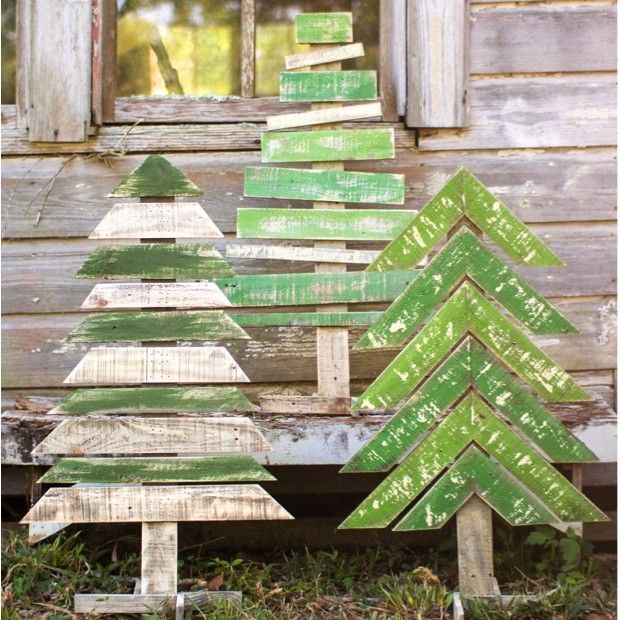 Huge Recycled Wood Christmas Trees , Set of 3