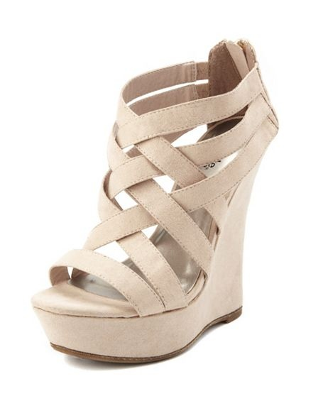 Zip Back Strappy Wedge In Nude Charlotte Russe Pretty