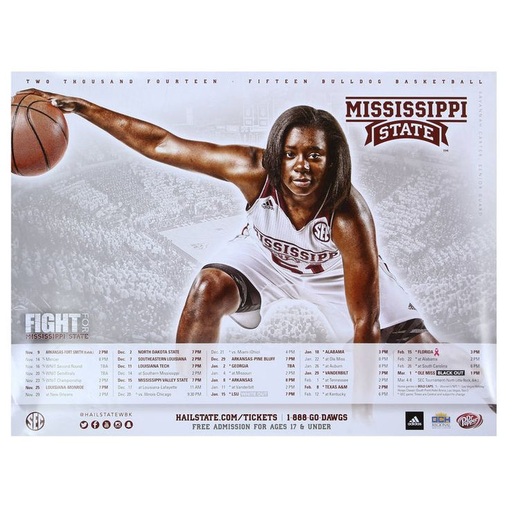 No. 51 Mississippi State Bulldogs 2014 Women's Basketball Schedule Poster