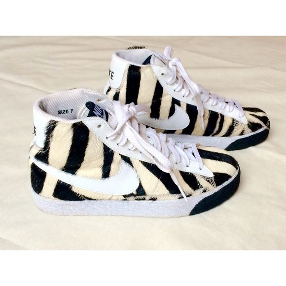Zebra Fur NIKE High Tops One-of-a-kind shoes! Real leather