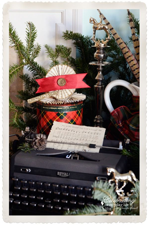 1920's Royal Typewriter, paper medallions, plaid tin, vintage sheet music, Old Fashioned Christmas Decorations
