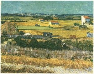 Vincent van Gogh's Harvest Series Read about it here! (Harvest at La Cra, with Montmajour in the Background)
