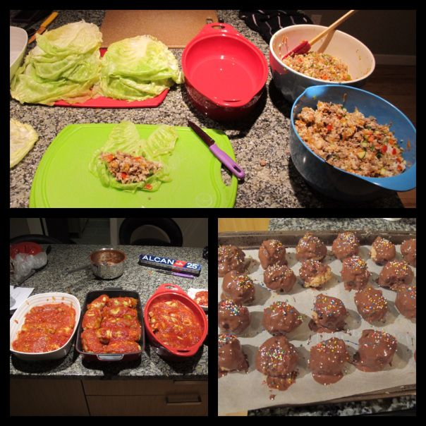 Cabbage rolls and peanut butter balls