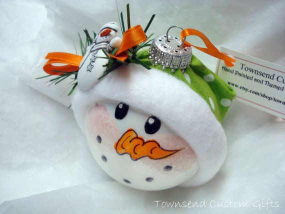 Snowman Christmas Ornament Hand Painted Personalized Green White Polka Dot Hat
