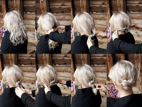 KNUTE STEG FOR STEG: Her ser du hvordan du kan sette opp håret i en lav knute bak i nakken. Hår: Sølvi Bjørnevoll.