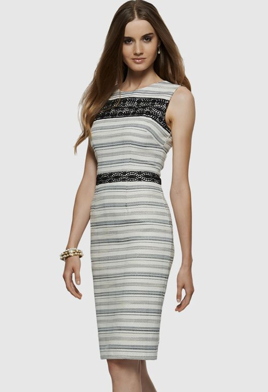 White Sleeveless Contrast Lace Striped Slim Dress
