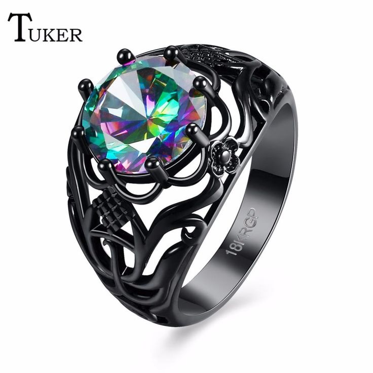 Tuker New Multi-color Opal Female Ring Amethyst Round Zircon Black Gold Flower Jewelry Top Quality Wedding Rings For Women