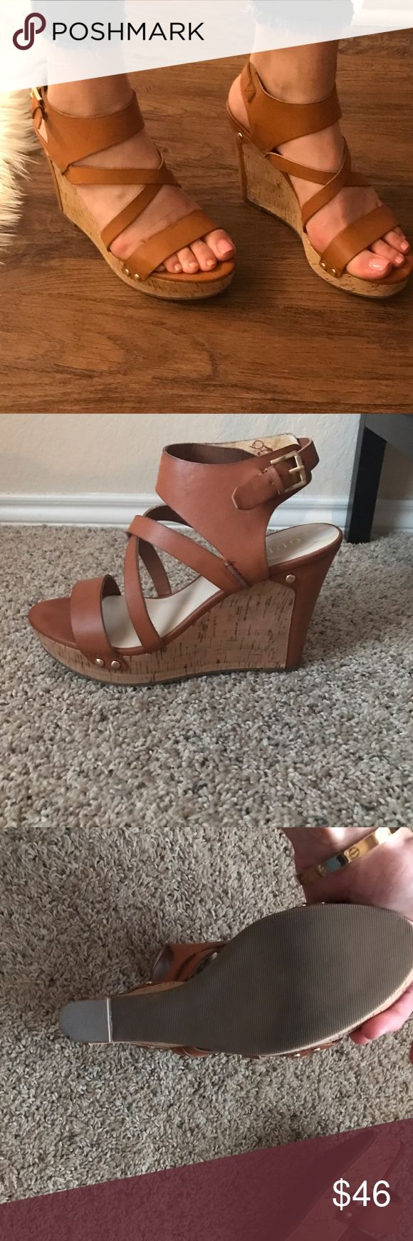 Guess size 9 camel wedges Only worn once , Like new Guess wedges ! Size 9, camel color w gold hard ware Guess Shoes Wedges