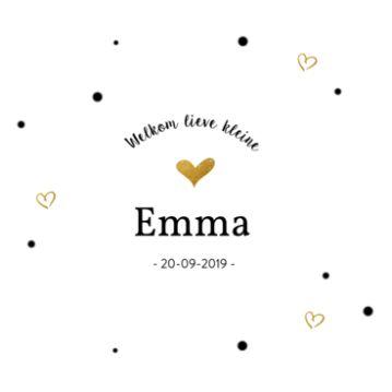 Klassiek geboortekaartje met gouden hartjes en confetti