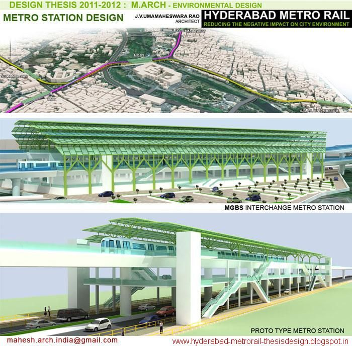 Hyderabad Metro Rail - Metro station design - Design Thesis - M.Arch (Environmental Design) Architecture