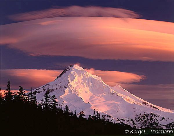 Mount Hood - Alpenglow and Lenticular Clouds