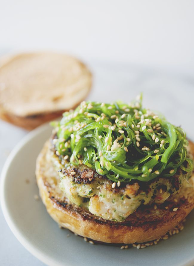 spicy shrimp burger with wakame slaw