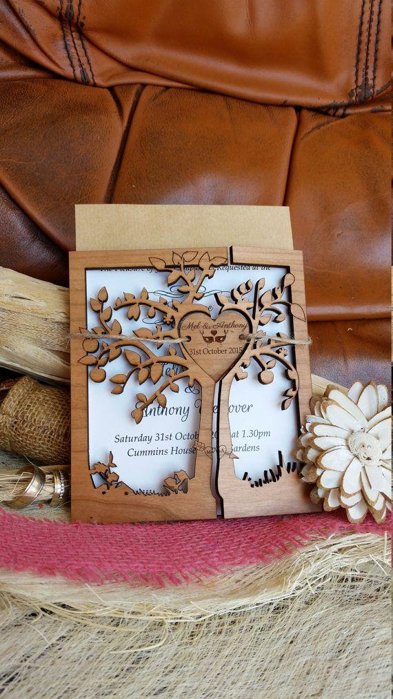 Tree wedding invitation 110/ wood wedding by AmazingWoodCraft