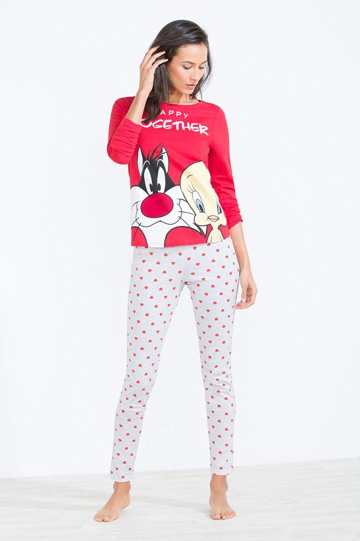 Womenu0027secret | Happy Valentine | Pijama Largo De Piolín Y Silvestre En  Algodón