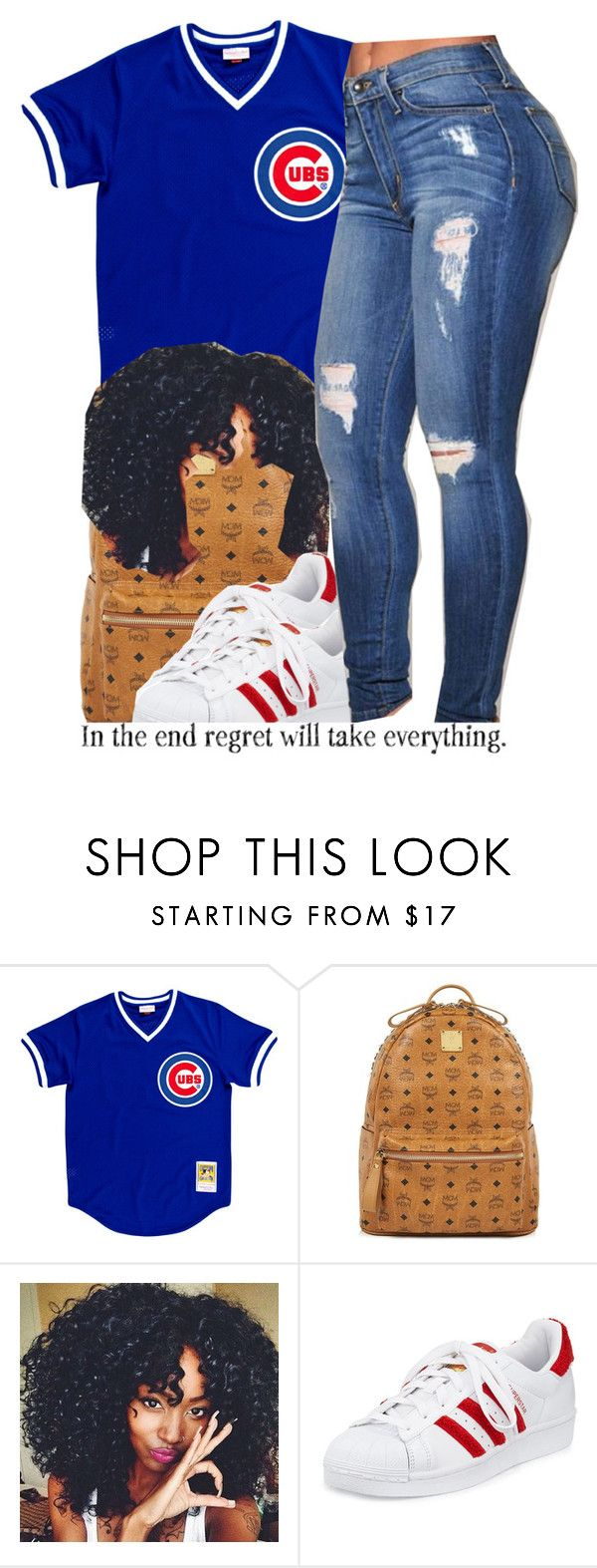 """cubs."" by trinityannetrinity ❤ liked on Polyvore featuring MCM and adidas"