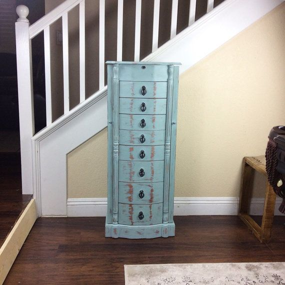 beautiful jewelry armoire jewelry box blue jewelry cabinet standup jewelry box cottage - Stand Up Jewelry Box
