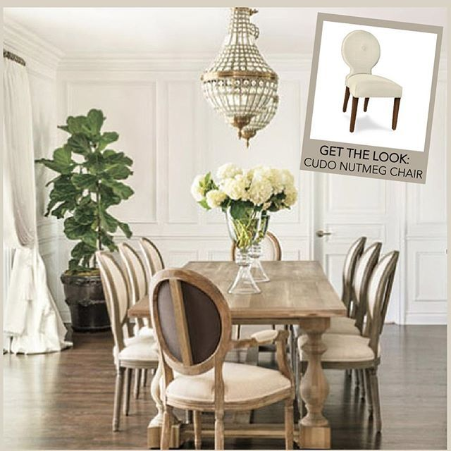 Such a gorgeous dining room! Loving the combo of these round back dining chairs paired with the rustic wood table and elegant chandeliers. #designinspo #GetTheLook with the #Cudo Nutmeg chair #customdiningchairs #custom #dining #entertaining #madeintheUSA #diningroom #interiordesign #DIY #diningchairs