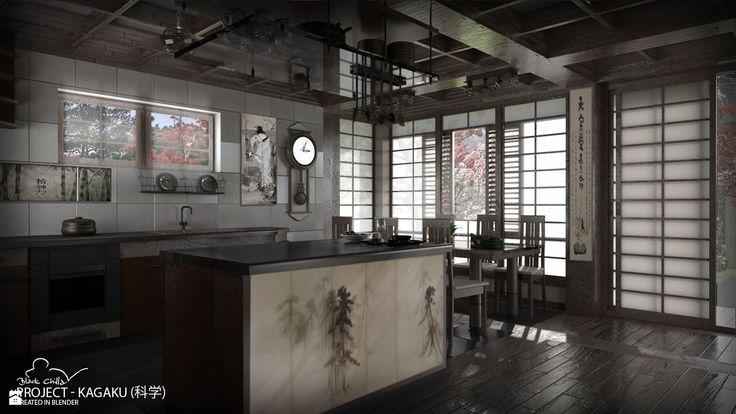 Kagaku - projekt wnętrza inspirowany Japonią - zdjęcie od Black Chilla Design Studio - Kuchnia - Styl Nowoczesny - Black Chilla Design Studio