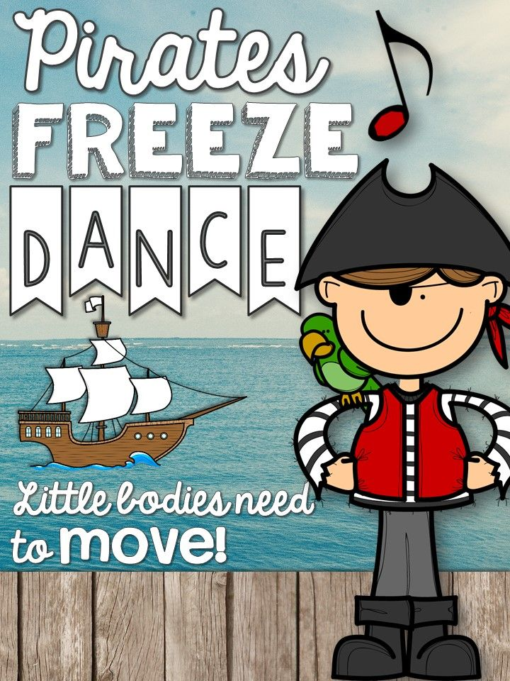 Freeze Dance - Need a fun movement activity to fill a few minutes of music or PE? Classroom teachers, are you looking for a fun brain break to get your kids up and moving? Try Freeze Dance! Turn on some fun music, and each time you hit pause show a different picture (print or project onto your board). Students will love freezing in different poses to match the pirate. #kodalyinspiredclassroom #freezedance #brainbreaks #iteachk #iteachtoo #musiceducation #PE #orff #kodaly #elmused