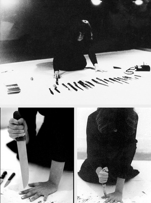 Marina Abramovic, Rhythm 10, 1973. She's so OUT THERE...yet completely relatable.