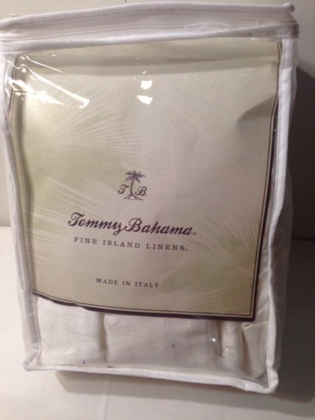 Tommy Bahama MONACO PALM Bed Skirt KING  3Panel Egyptian Cotton White Sands New #TommyBahama #Tropical