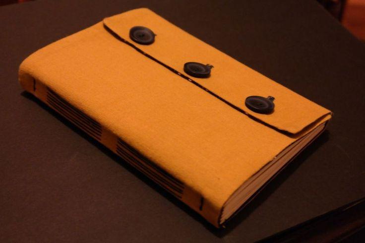 #handmadebook with yellow fabric cover and dark blue buttons Sarı kumaş kaplı düğmeli defter Zet.com'da 50 TL