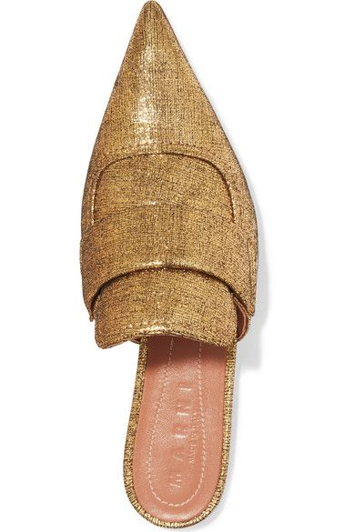 Marni - Metallic Textured-leather Slippers - Gold