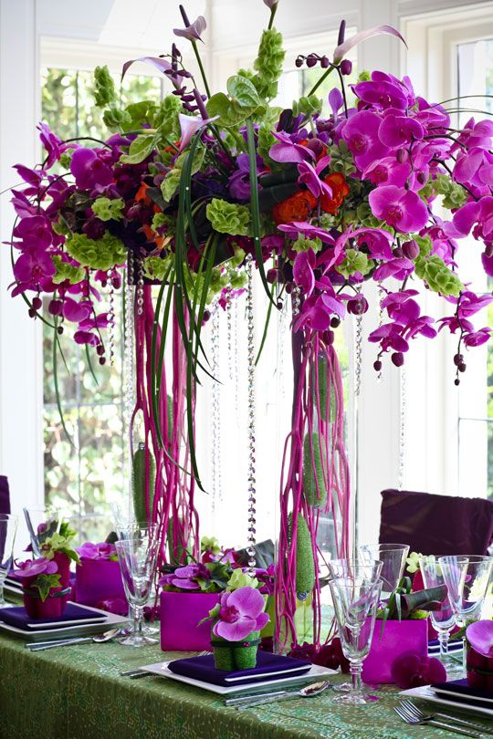 Orchids, Bells of Ireland, Anthirium... just awesome.
