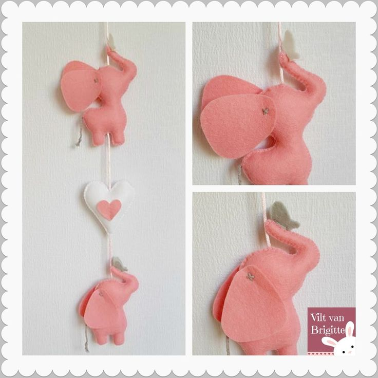 I have a elephants wall / window / cabinet made pendant. Both play the elephants with a butterfly. The elephants and the heart are made of felt. Everything is handmade. From The Netherlands. #Babylove #Babyroom #Babydecor