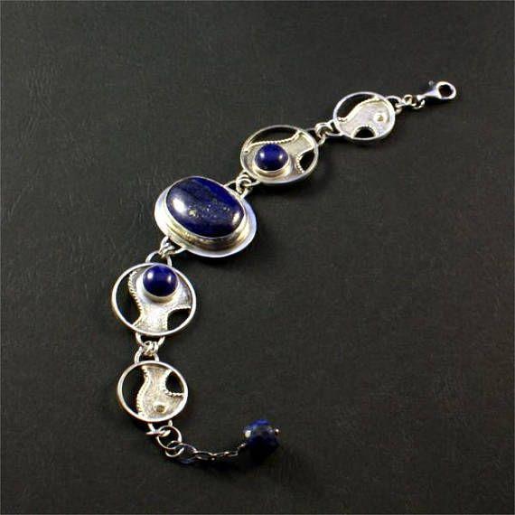 Silver Bracelet With Lapis Lazuli Oxidized And Polished Sterling Silver Sterling Silver Gemstone Brancelet Silver Jewelry Handmade Diamond Bracelet Design Gems Bracelet