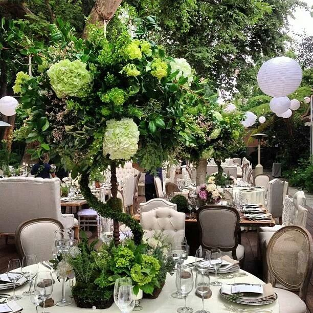 Gorgeous table centerpieces by Marks Garden. Styled by Mindy Weiss