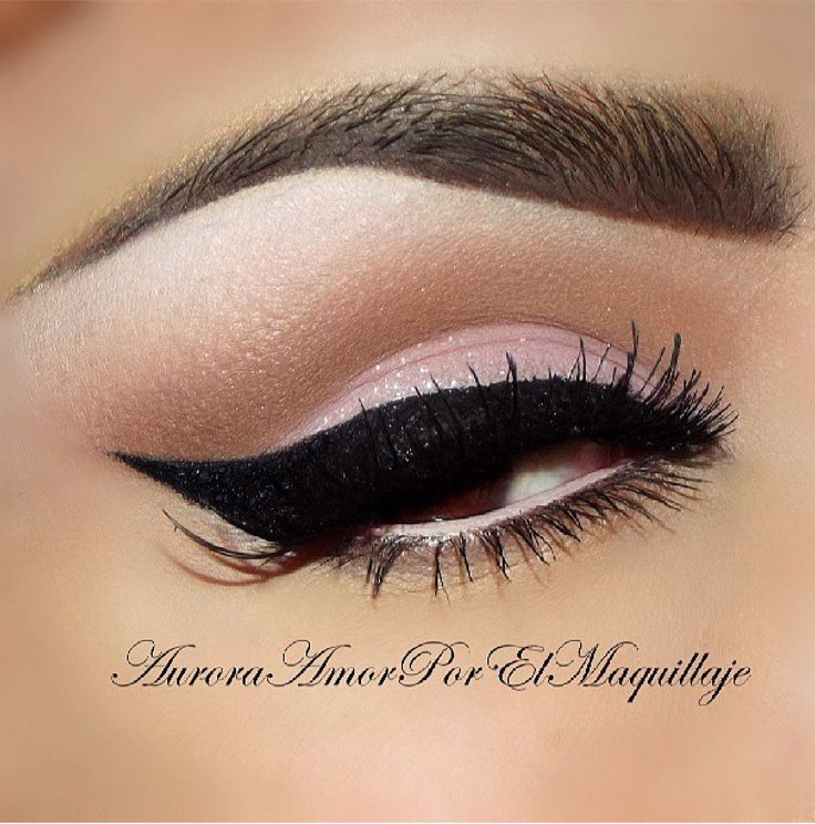 Wedding Makeup Winged Eyeliner : Soft pink brown cut crease eyeshadow with thick winged ...