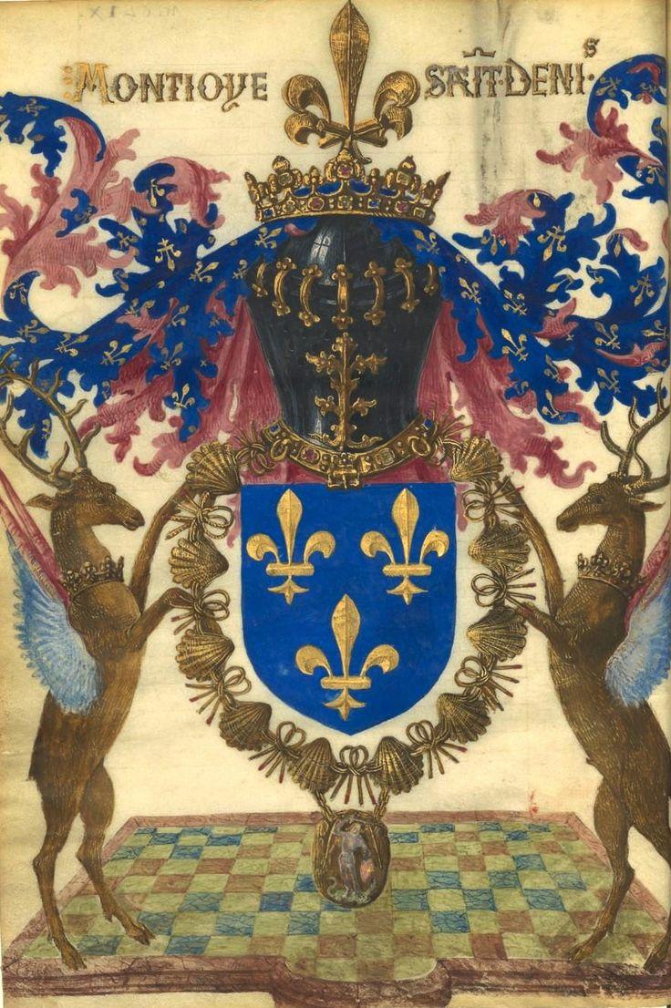 """Armes de France (Louis XII) entourées du collier de saint Michel, au cimier en fleur de lis carrée, deux cerfs ailés (supports) et le cri """"Montjoie saint Denis"""" (f°Dv) -- «Livre fait par Gilles Le Bouvier, dit Le Hérault Berry, où l'on peut """"savoir au vray la manière, la forme et les propriétés des choses qu'ilz sont en tous les royaulmes crestiens, et des autres royaulmes"""" où il s'est trouvé, …», 1401-1500 [BNF Ms Fr 5873 - ark:/12148/btv1b60007307]"""