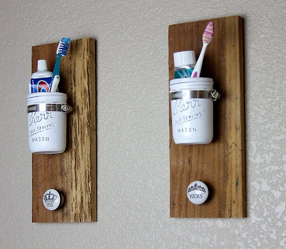 White mason jars his and her distressed wall hanger by BranchBirds, $35.00
