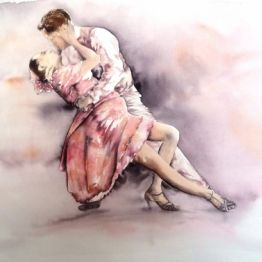 vente aquarelle Danseurs de tango