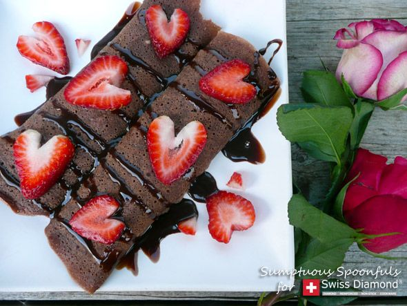 Chocolate Strawberry Truffle Crepes from Sumptuous Spoonfuls #chocolate #crepes #recipe