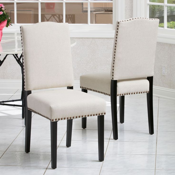 Brunello Armless Studded Fabric Dining Chairs By Christopher Knight Home Set Of 2